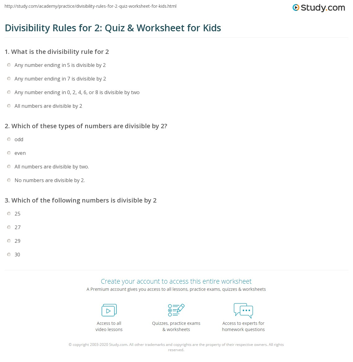 Worksheets Divisibility Rules Worksheets divisibility rules for 2 quiz worksheet kids study com print lesson worksheet