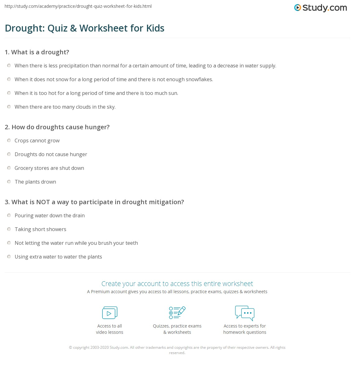 Drought Quiz Worksheet for Kids – Worksheet for Kids