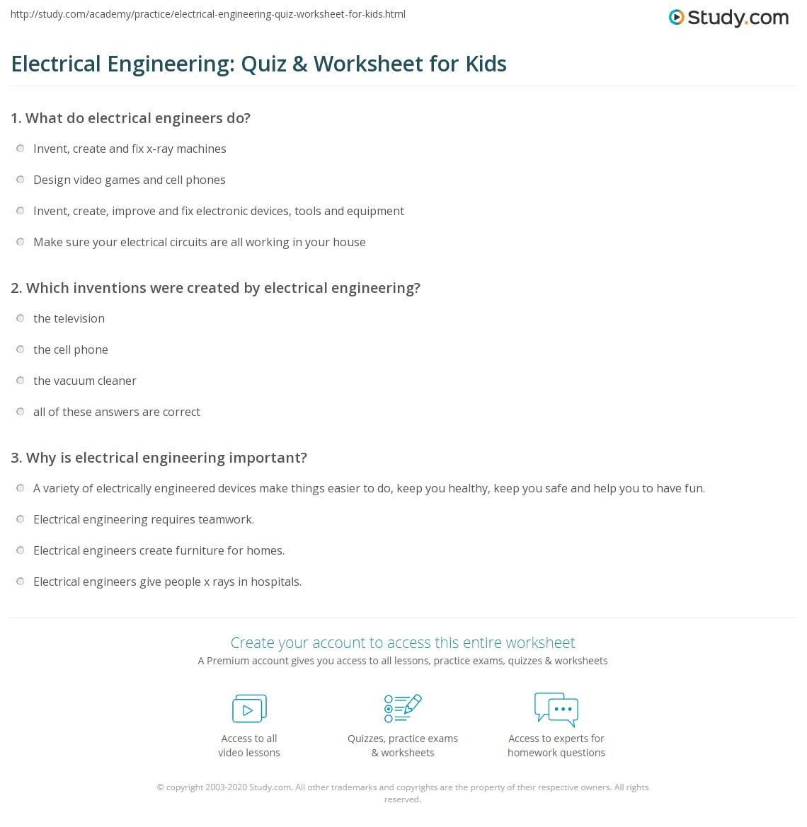 Worksheets Engineering Worksheets electrical engineering quiz worksheet for kids study com print lesson worksheet