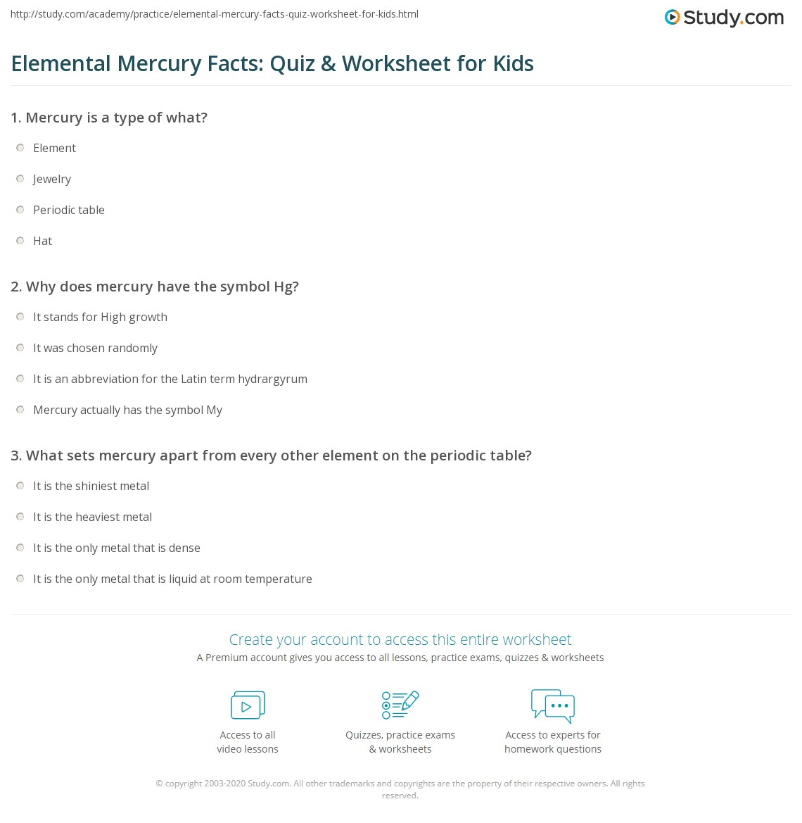 Mercury periodic table fun facts brokeasshome elemental mercury facts quiz worksheet for kids study com gamestrikefo Image collections