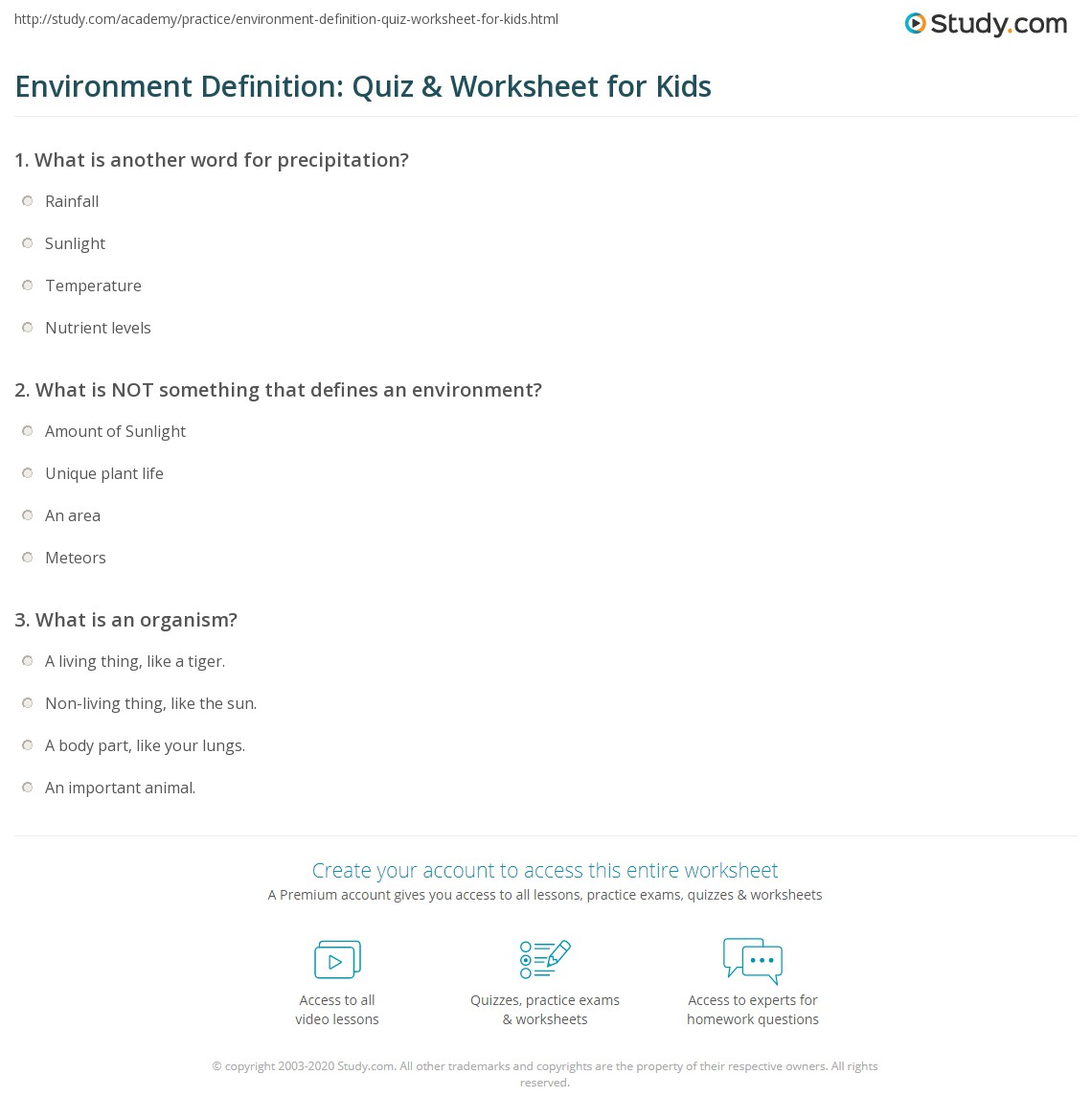 environment definition: quiz & worksheet for kids | study