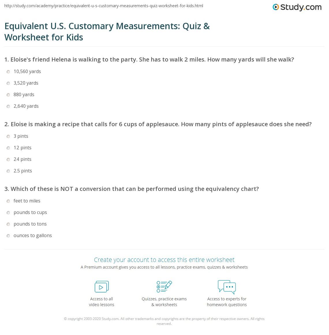 Equivalent Us Customary Measurements Quiz Worksheet For Kids