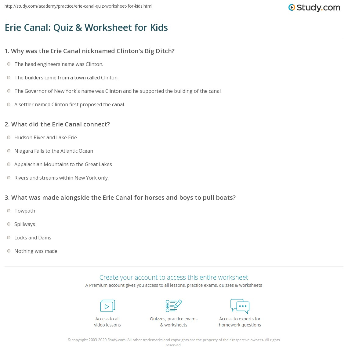 erie canal quiz worksheet for kids. Black Bedroom Furniture Sets. Home Design Ideas