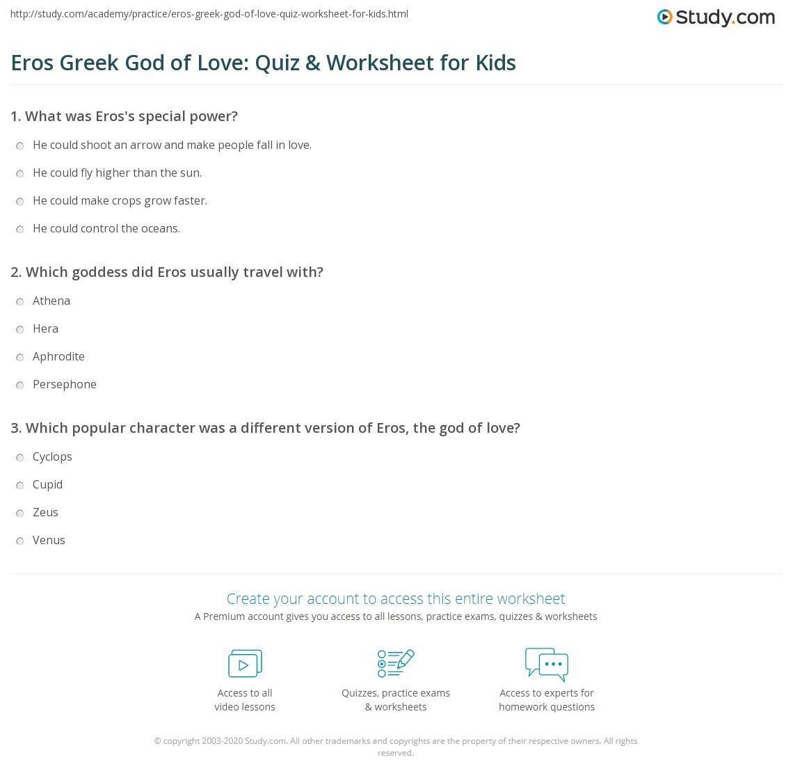Eros Greek God Of Love Quiz Worksheet For Kids Study