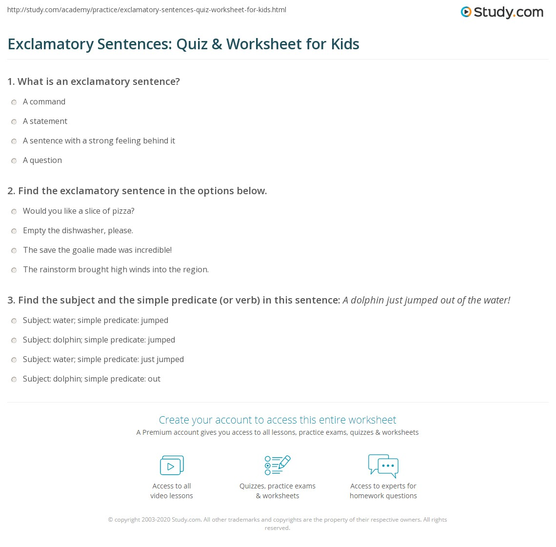 exclamatory sentences quiz worksheet for kids. Black Bedroom Furniture Sets. Home Design Ideas