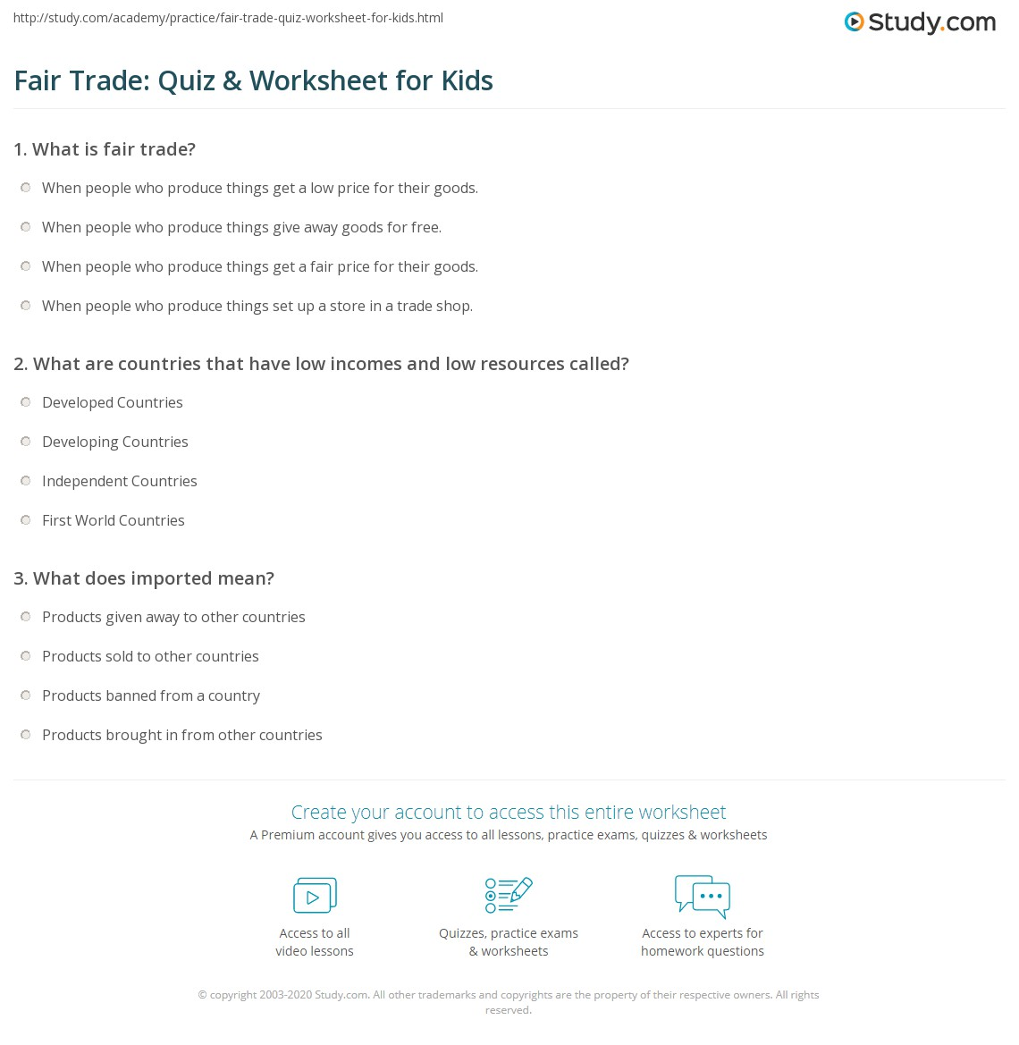 fair trade: quiz & worksheet for kids | study