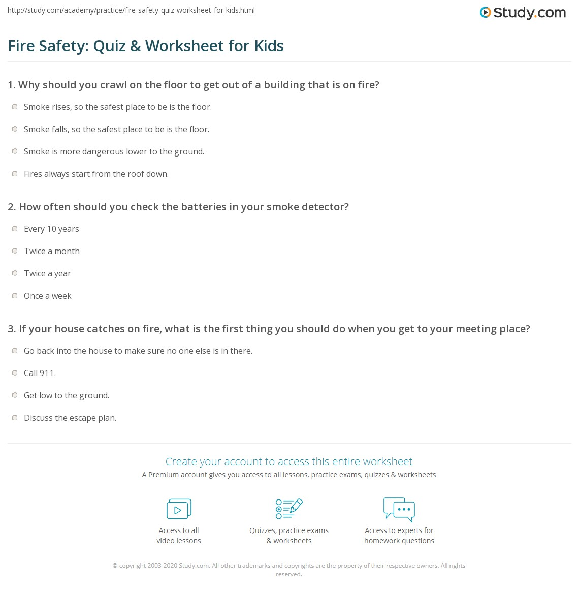 Worksheets Free Fire Safety Worksheets fire safety quiz worksheet for kids study com print lesson facts tips worksheet