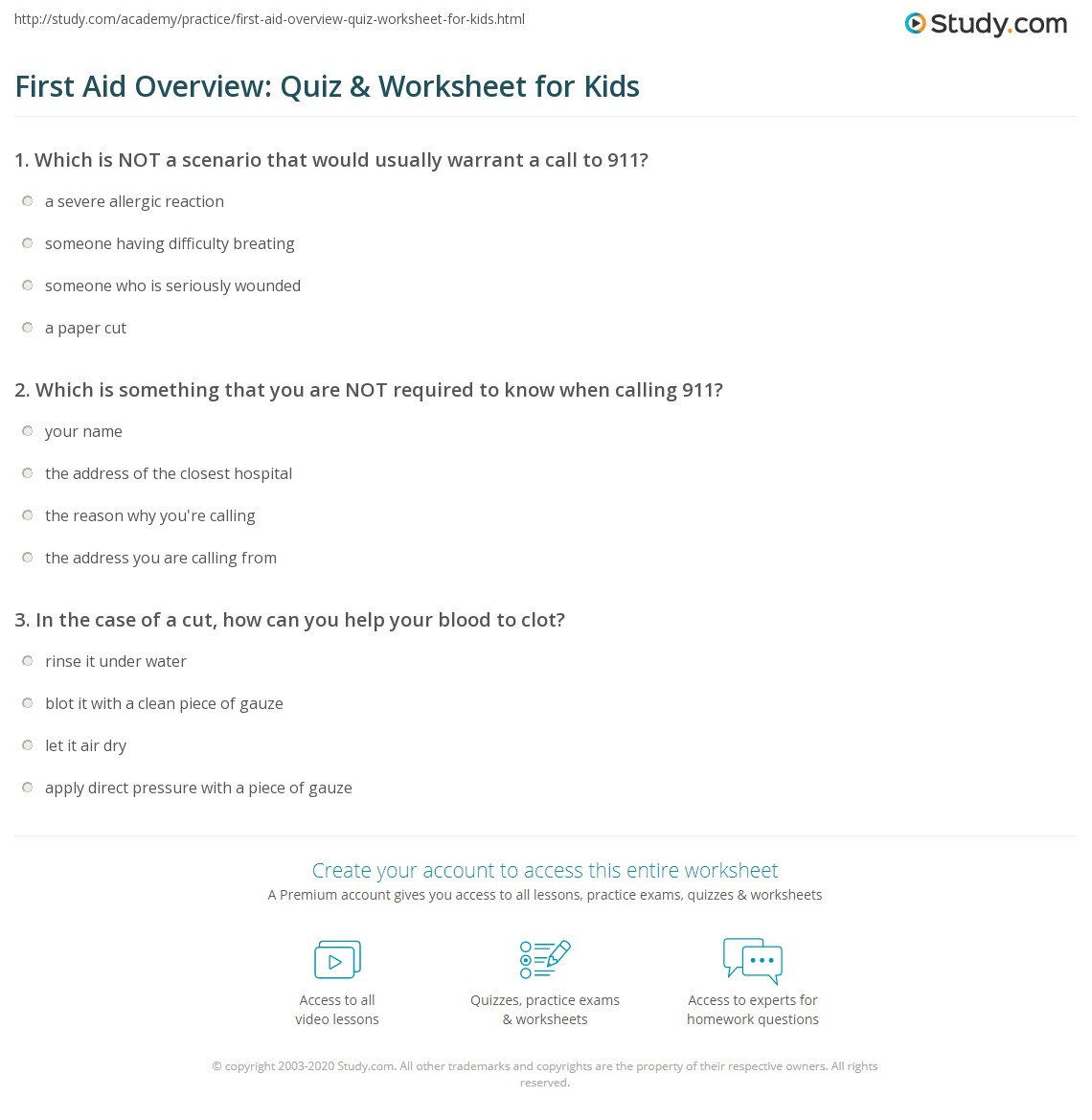 first aid quiz for students pdf