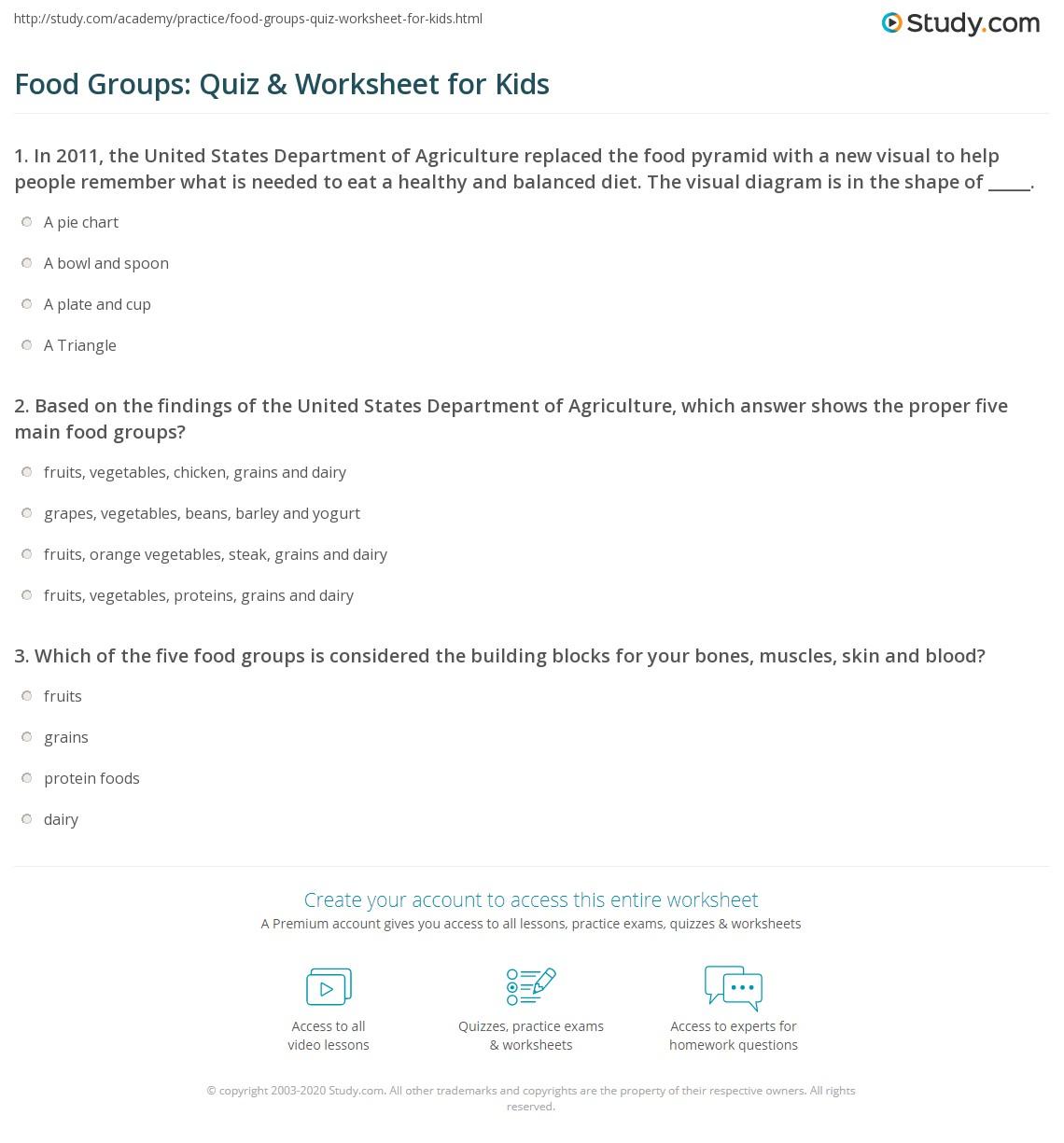 Food groups quiz worksheet for kids study print food groups lesson for kids worksheet nvjuhfo Gallery