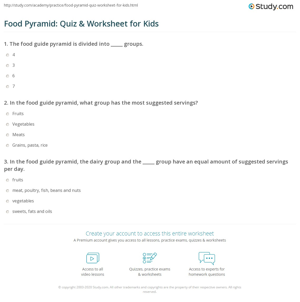 Food pyramid worksheet for high school