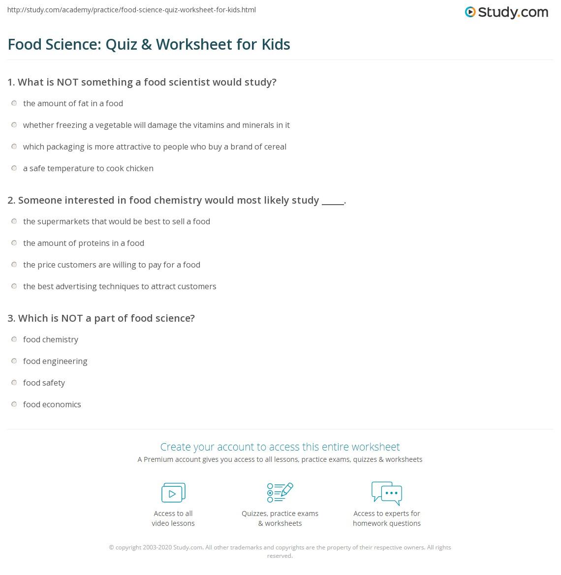 Worksheets Super Scientists Worksheet food science quiz worksheet for kids study com print lesson worksheet