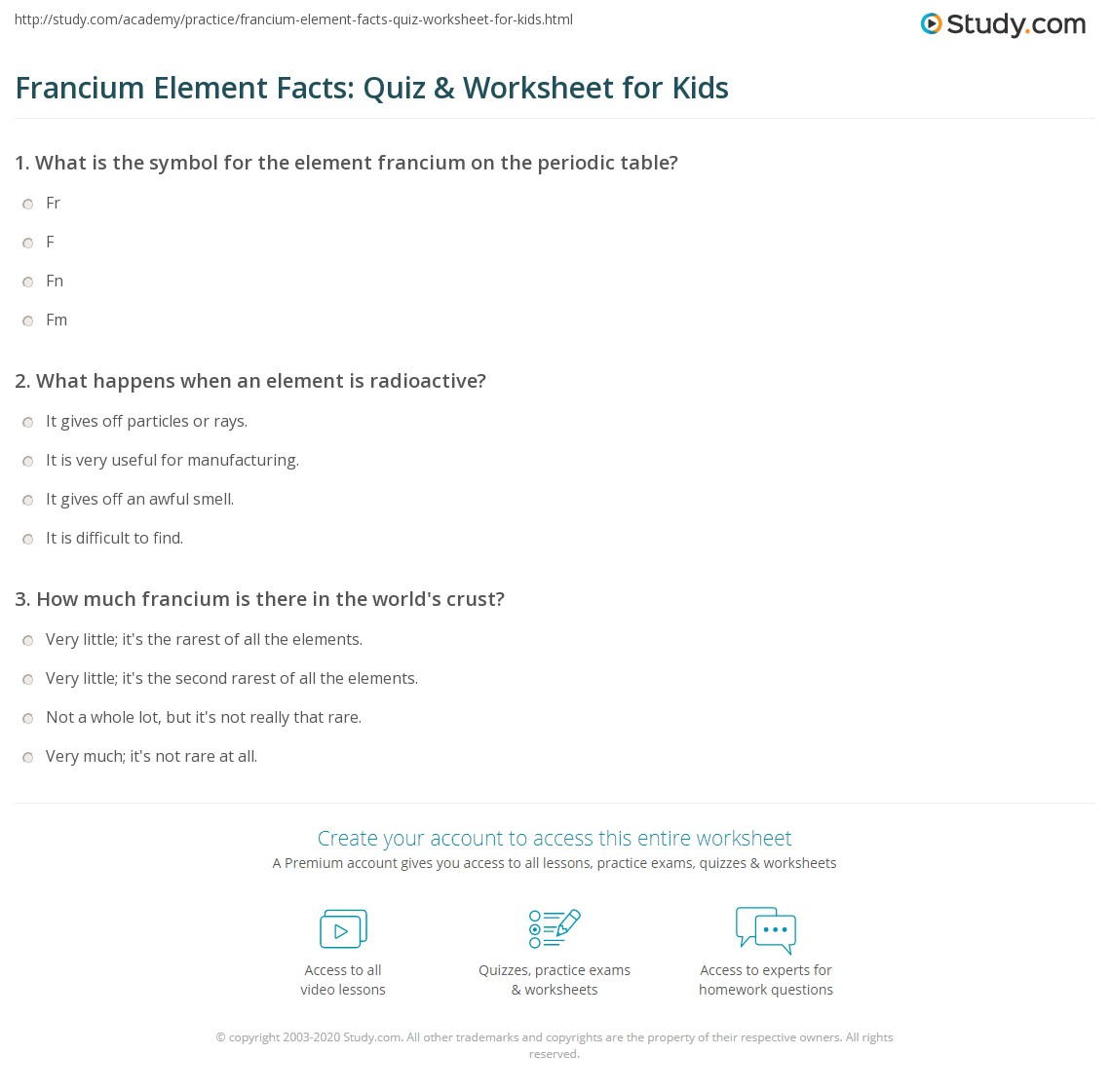 Francium Element Facts Quiz Worksheet For Kids Study