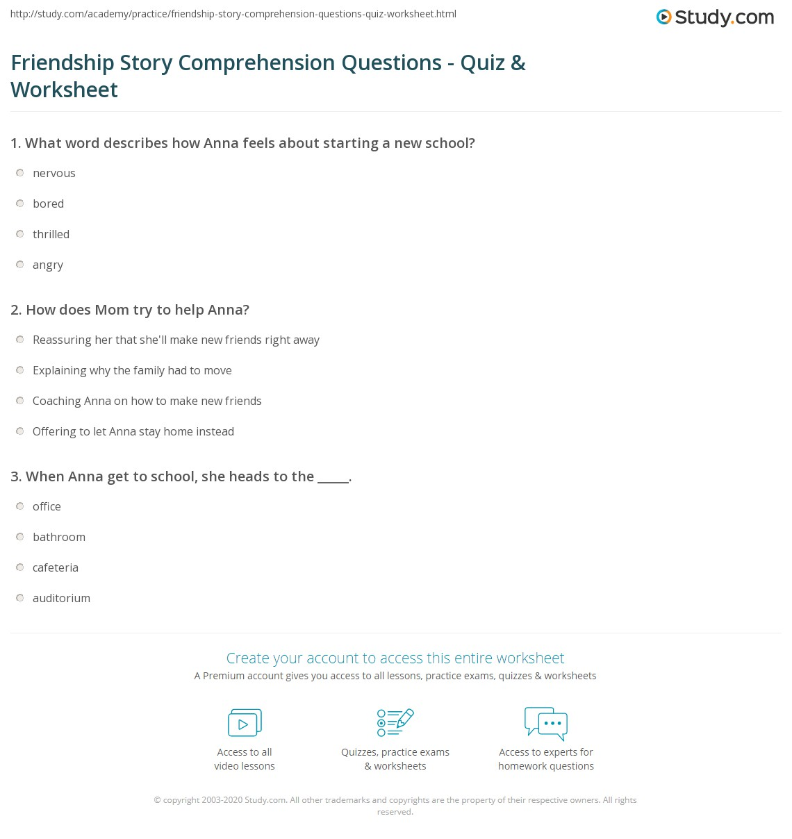 worksheet Friendship Worksheets friendship story comprehension questions quiz worksheet study com print short about for kids worksheet