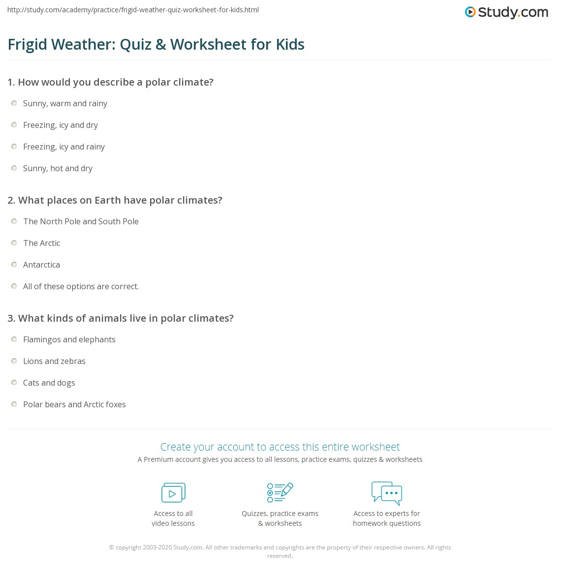 Print Polar Climate Facts: Lesson For Kids Worksheet