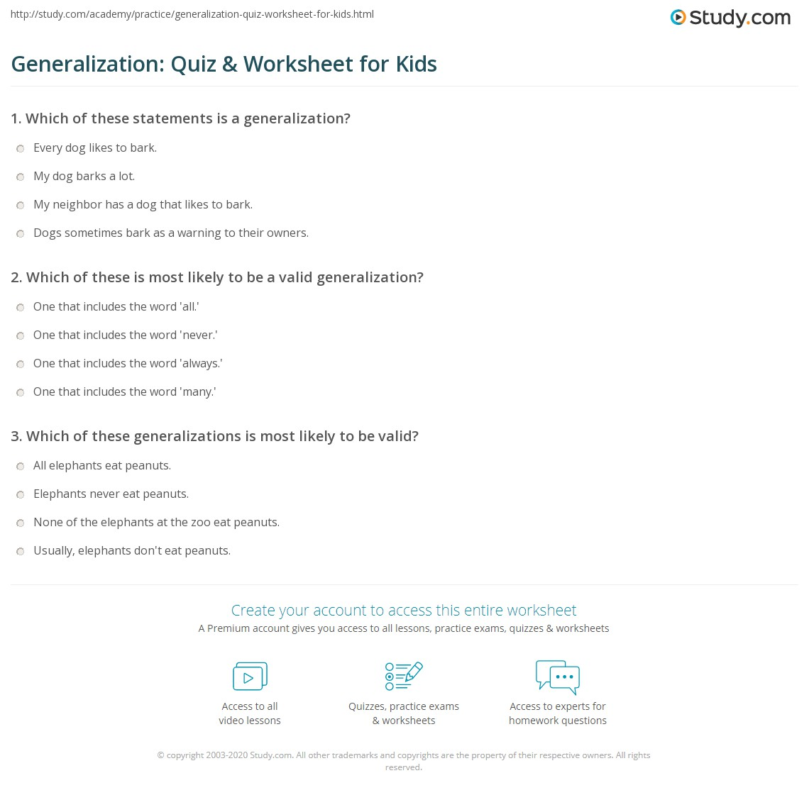Generalization: Quiz & Worksheet for Kids | Study com