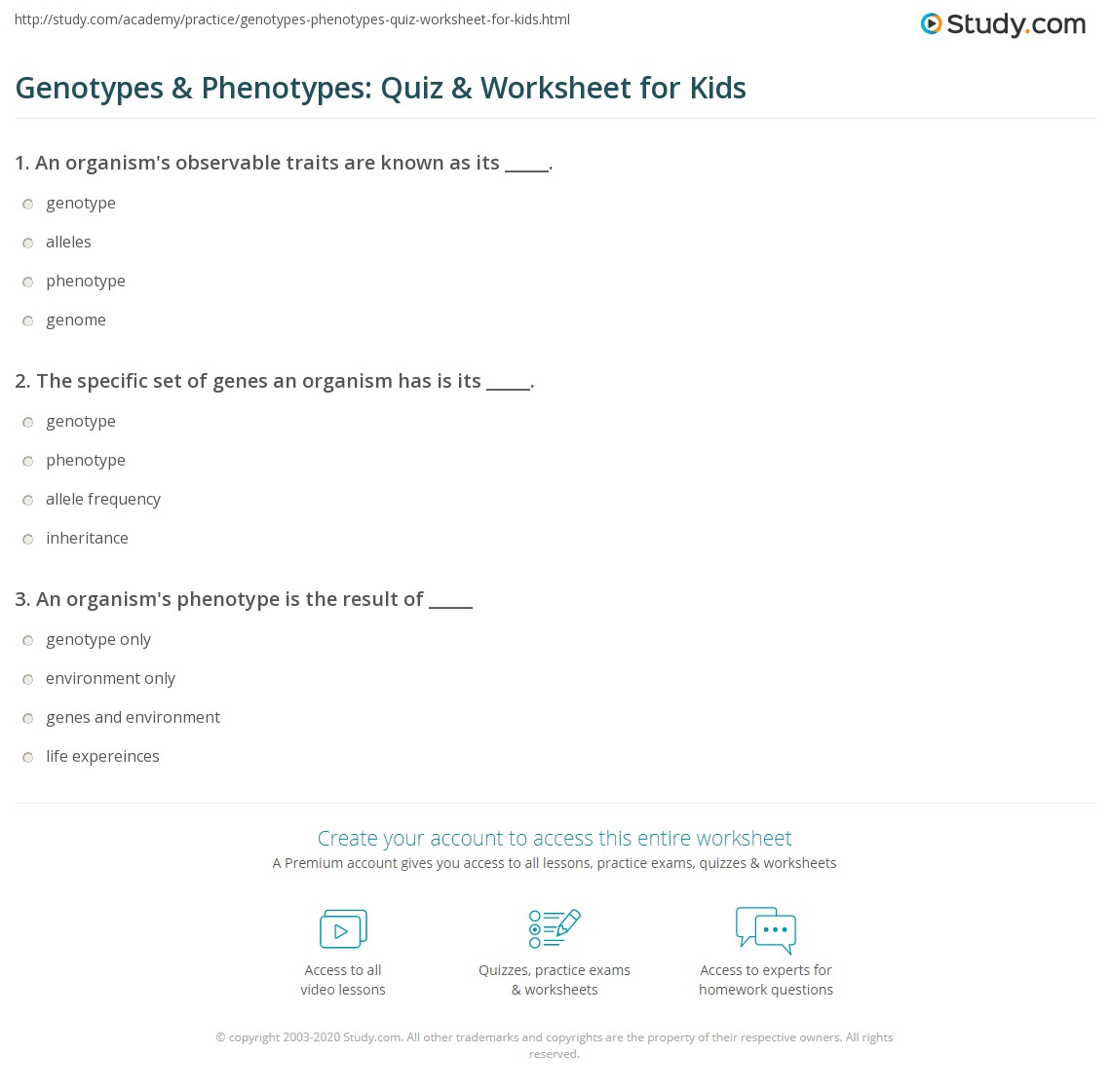 Genotypes & Phenotypes: Quiz & Worksheet for Kids | Study.com
