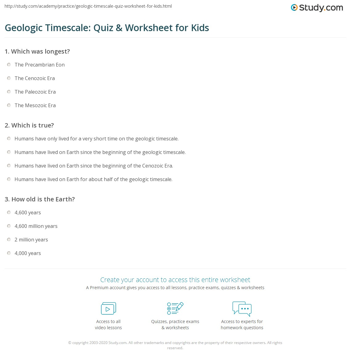 Geologic Timescale Quiz Worksheet For Kids Study Com
