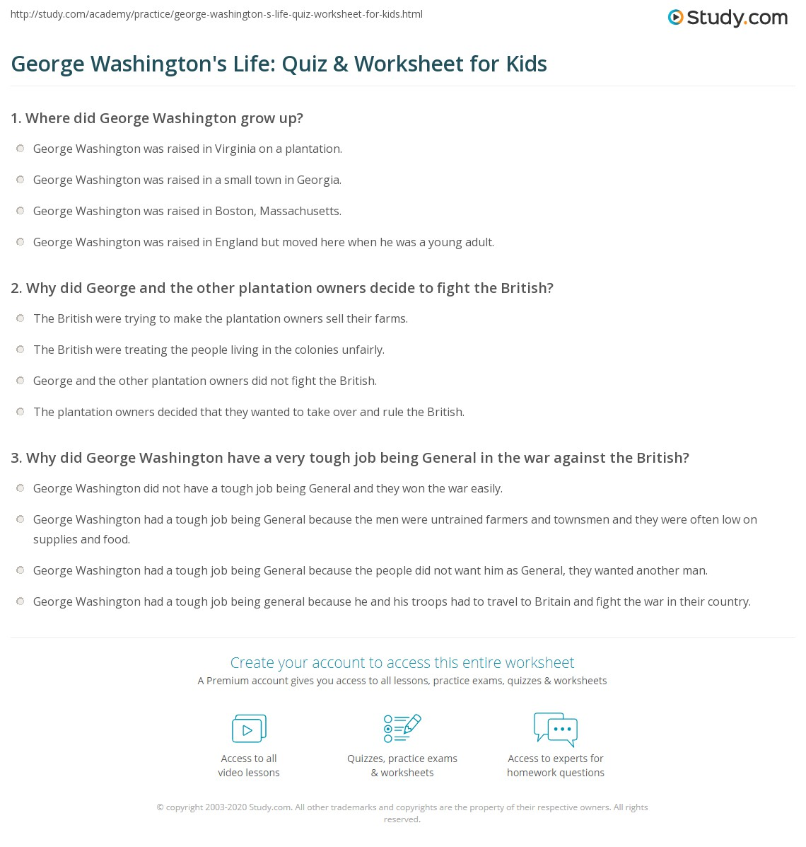 Print George Washington Lesson For Kids Facts Biography Worksheet