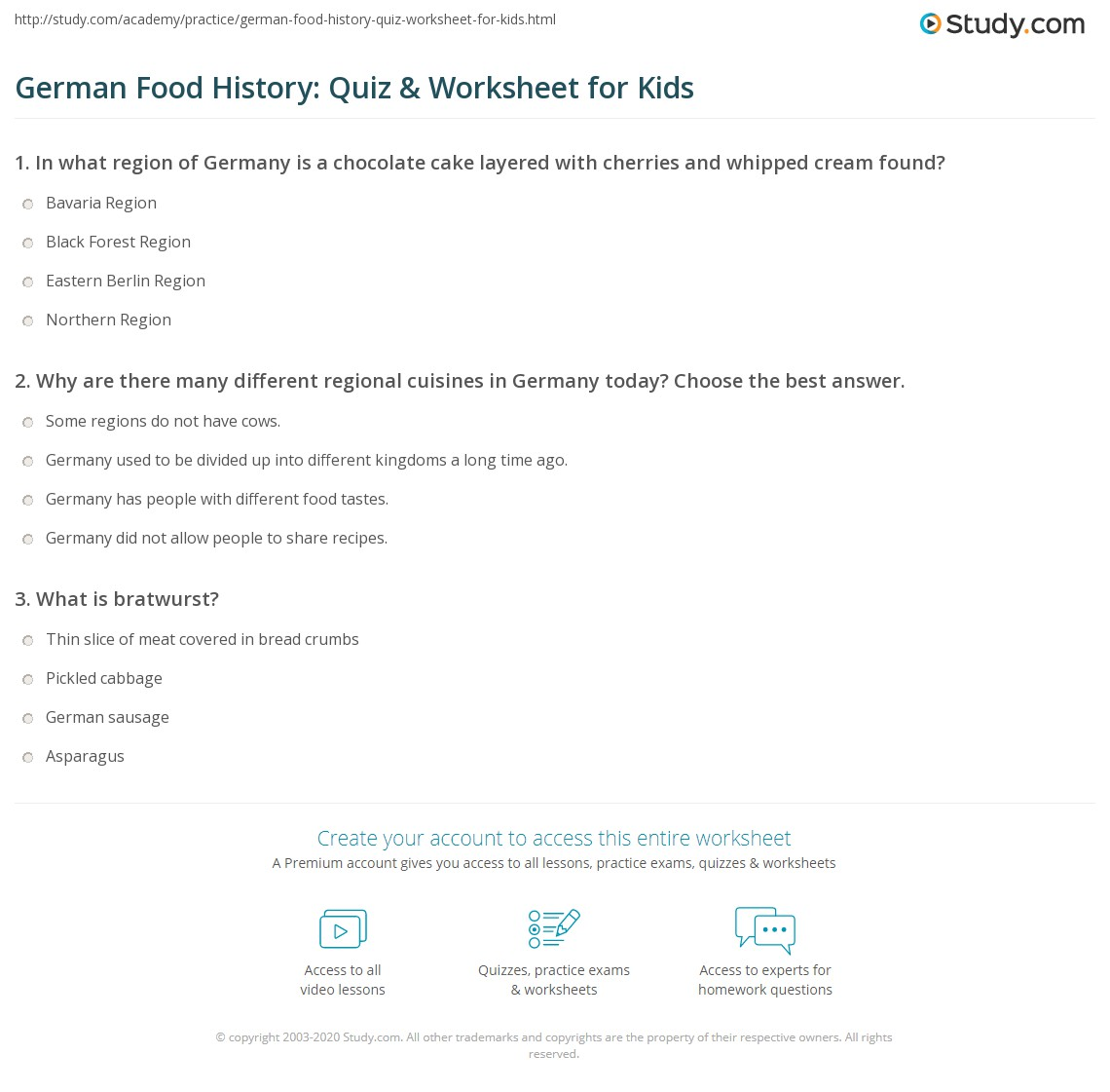 german food history quiz worksheet for kids. Black Bedroom Furniture Sets. Home Design Ideas