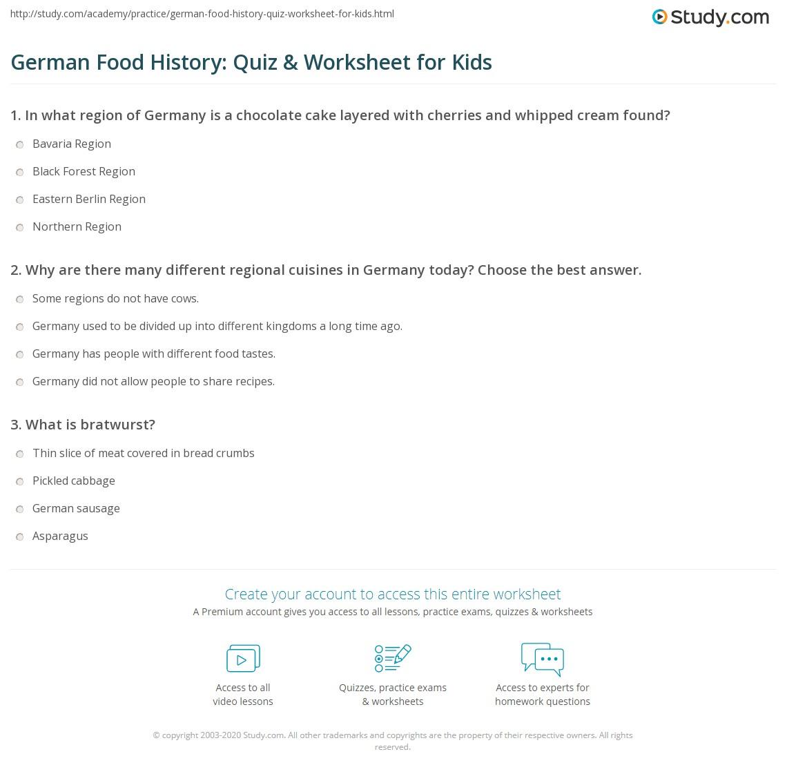 german food history quiz worksheet for kids. Black Bedroom Furniture Sets. Home Design Ideas