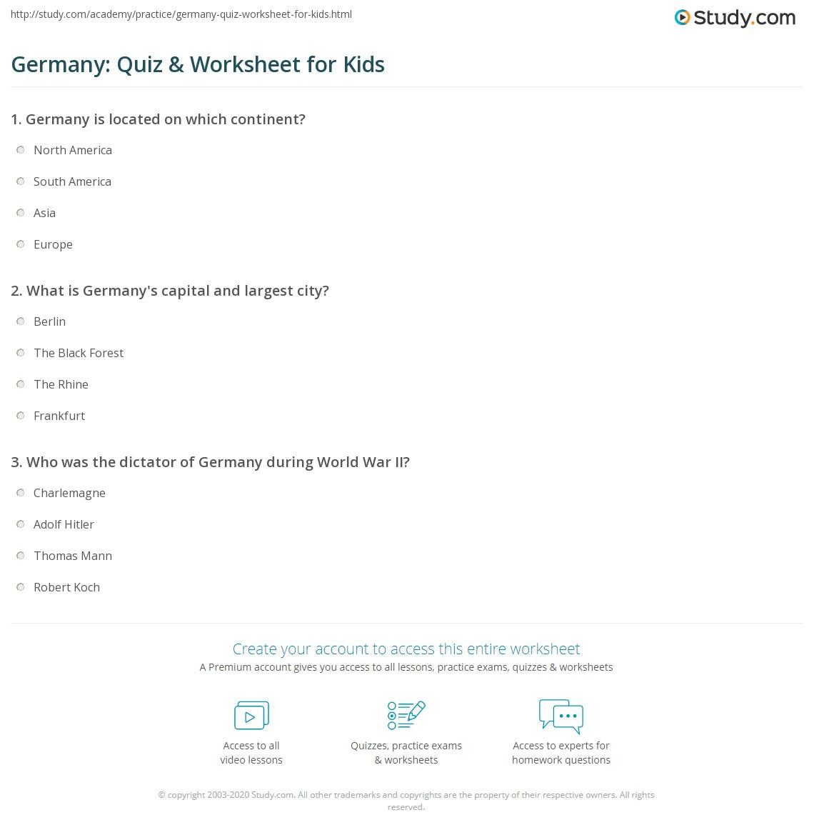 Germany Quiz & Worksheet for Kids   Study.com