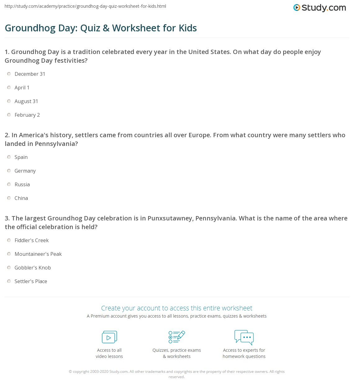 Groundhog day quiz worksheet for kids study print groundhog day lesson for kids history facts worksheet ibookread Read Online