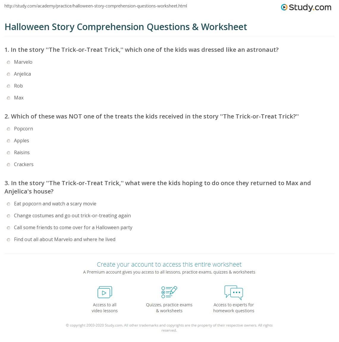Halloween story comprehension questions worksheet study print halloween short story for kids worksheet ibookread Read Online
