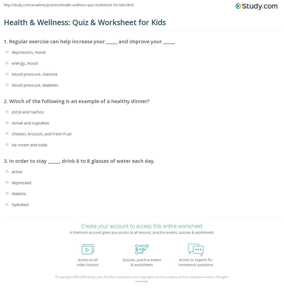Worksheets Health And Wellness Worksheets health wellness quiz worksheet for kids study com print lesson worksheet