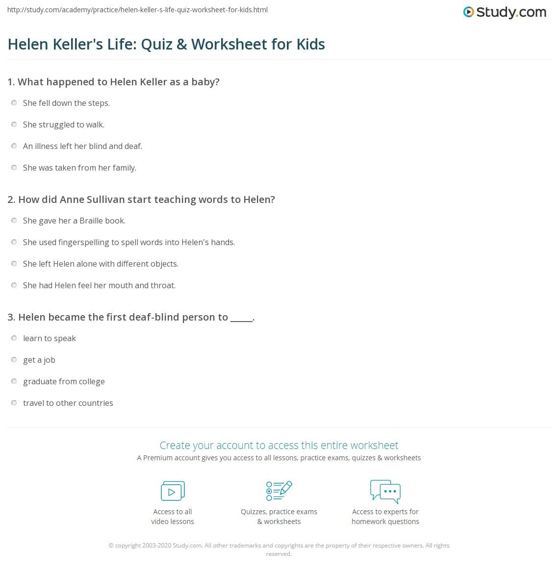 Worksheets Helen Keller Worksheets helen kellers life quiz worksheet for kids study com print keller lesson biography facts worksheet