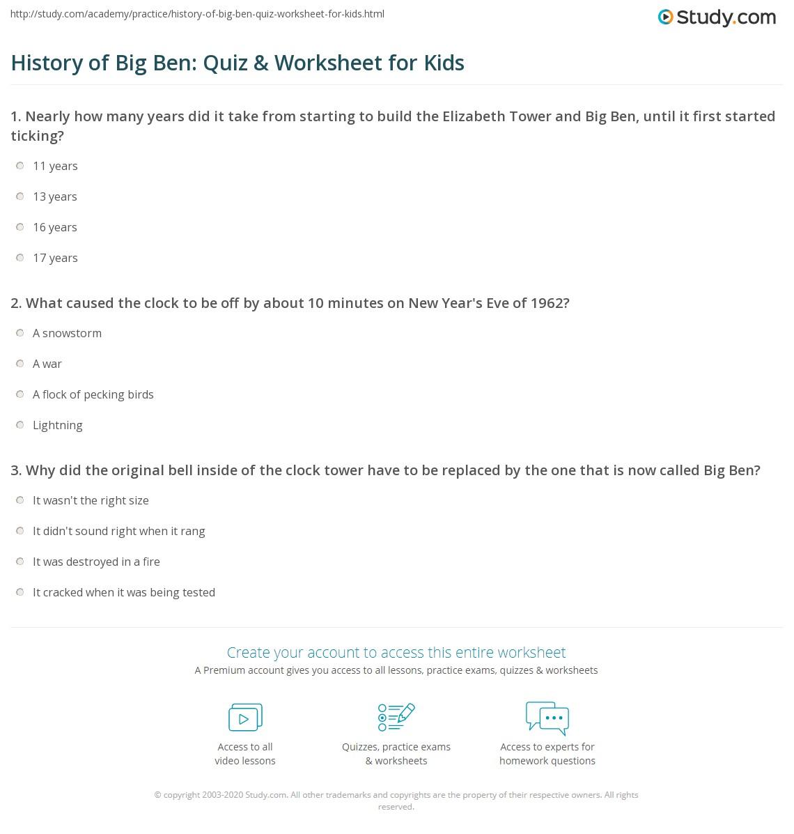 History of Big Ben: Quiz & Worksheet for Kids   Study.com