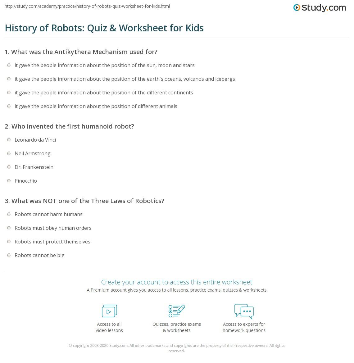 History of Robots: Quiz & Worksheet for Kids | Study com