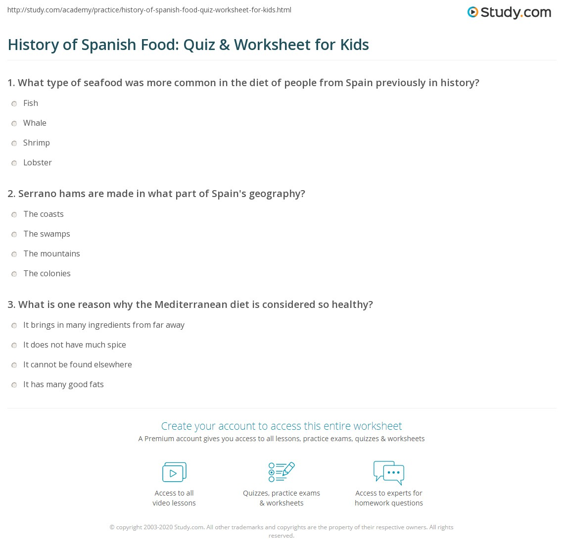 Worksheets Spanish Food Worksheet history of spanish food quiz worksheet for kids study com print lesson facts worksheet