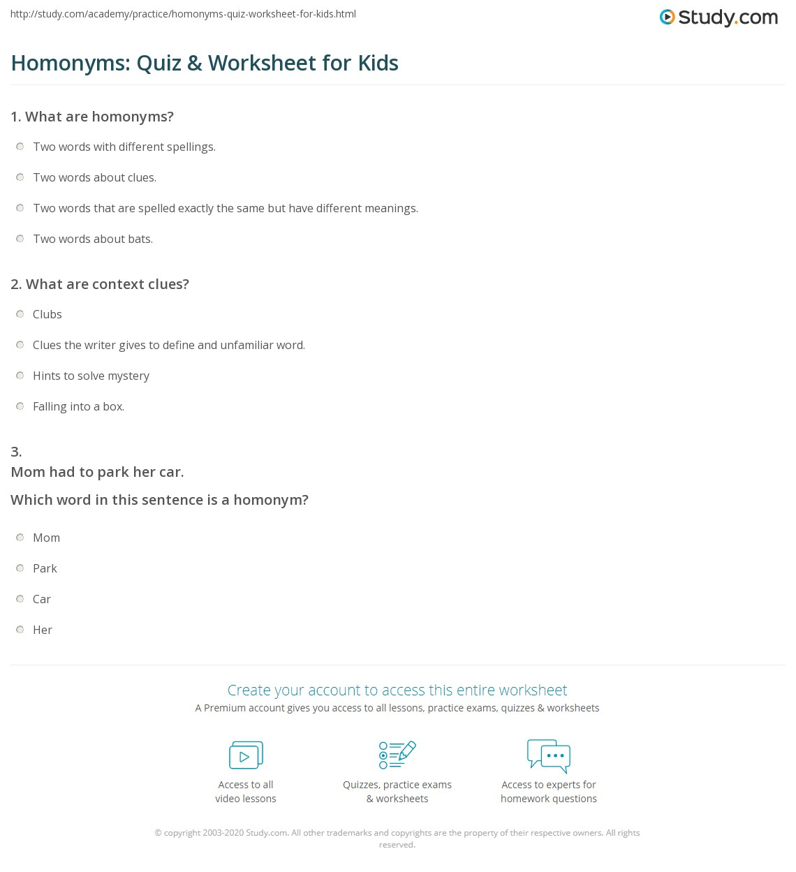 Homonyms Quiz Worksheet For Kids Study