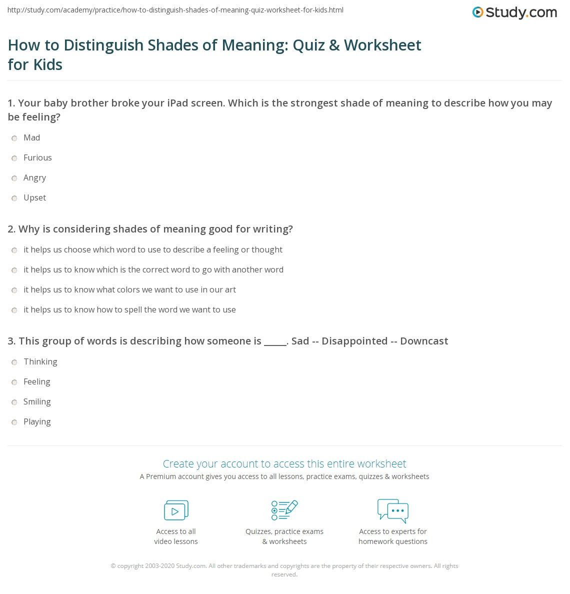 How to Distinguish Shades of Meaning: Quiz & Worksheet for ...