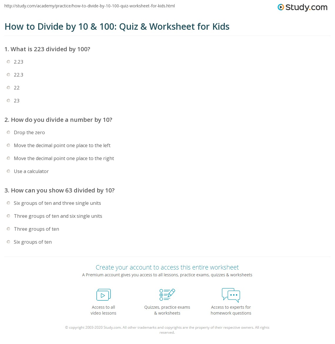 How to Divide by 10 & 100: Quiz & Worksheet for Kids | Study.com