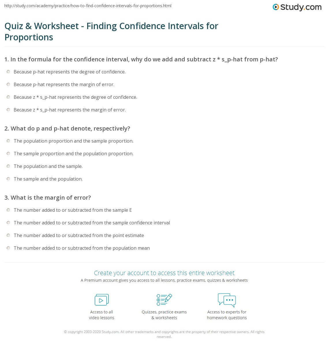 quiz worksheet finding confidence intervals for proportions. Black Bedroom Furniture Sets. Home Design Ideas