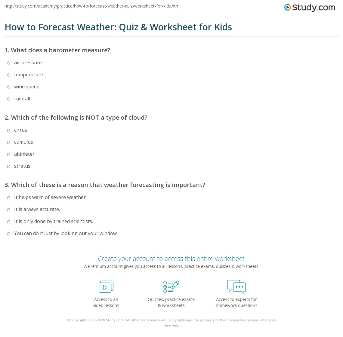 How To Forecast Weather Quiz Worksheet For Kids Study