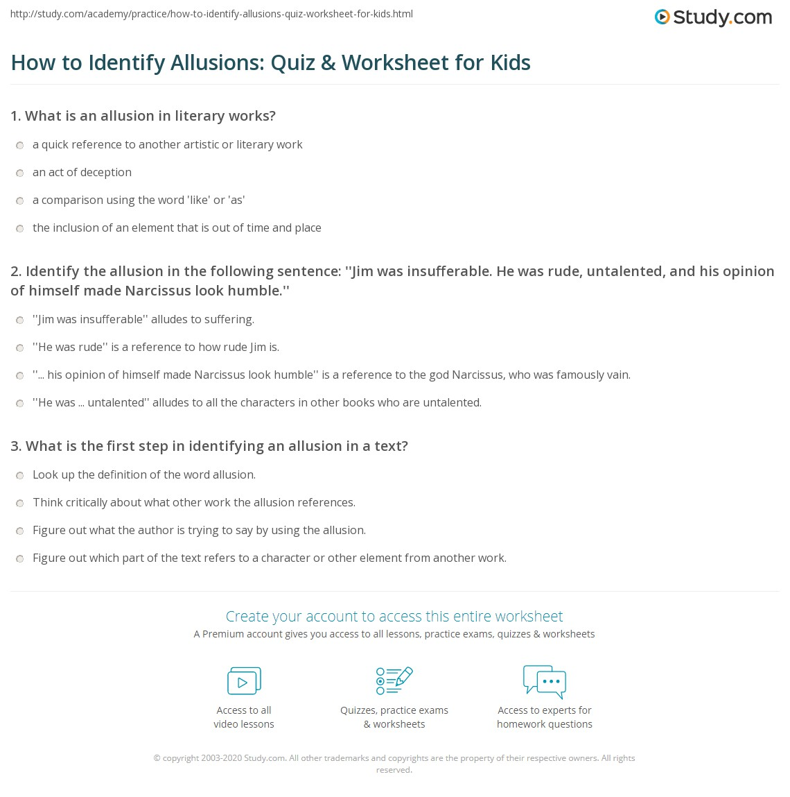 How To Identify Allusions Quiz Worksheet For Kids Study