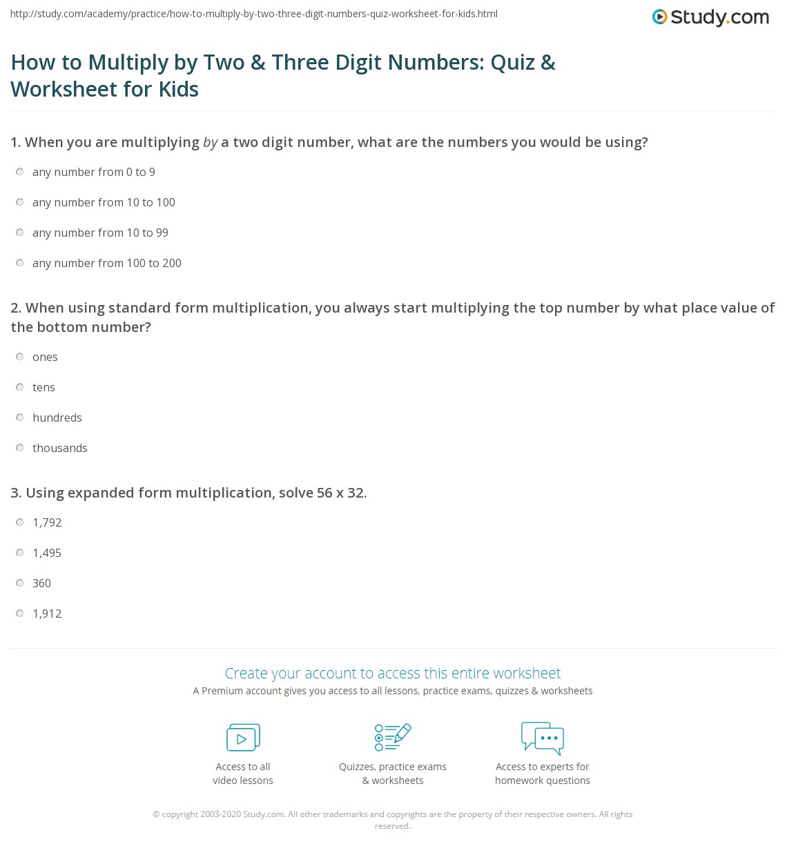 How To Multiply By Two Three Digit Numbers Quiz Worksheet For
