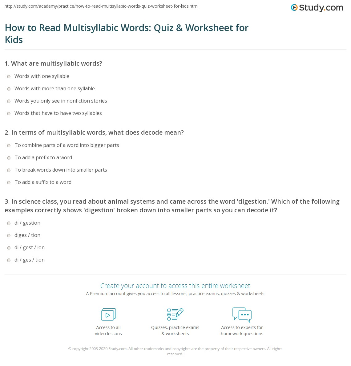 Worksheets Multisyllabic Words Worksheets how to read multisyllabic words quiz worksheet for kids study com print reading lesson worksheet