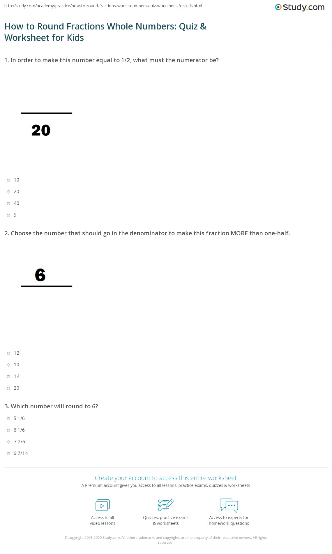 How to Round Fractions Whole Numbers: Quiz & Worksheet for Kids ...