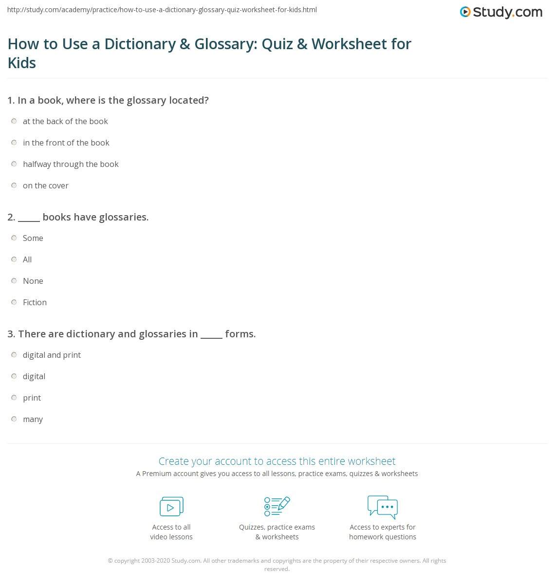 How to Use a Dictionary & Glossary: Quiz & Worksheet for Kids ...