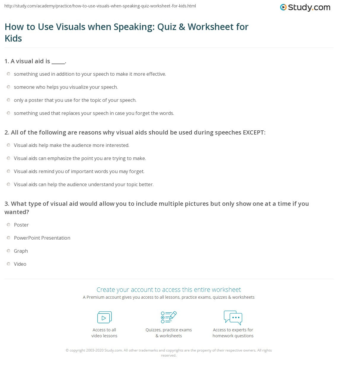 How to Use Visuals when Speaking: Quiz & Worksheet for Kids | Study.com