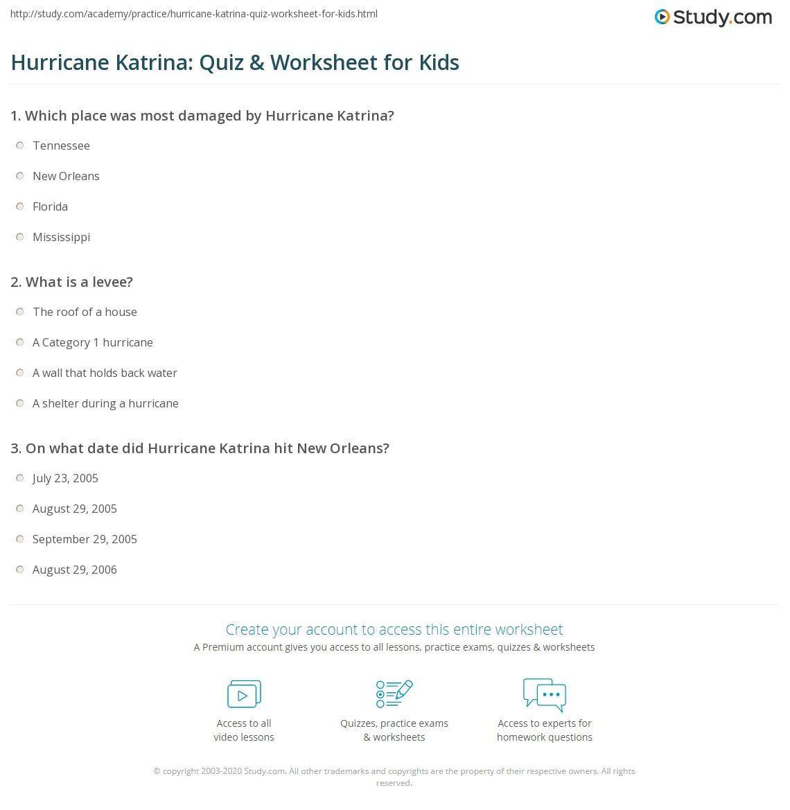 worksheet The Virtual Cell Worksheet hurricane worksheets calleveryonedaveday katrina quiz worksheet for kids study com
