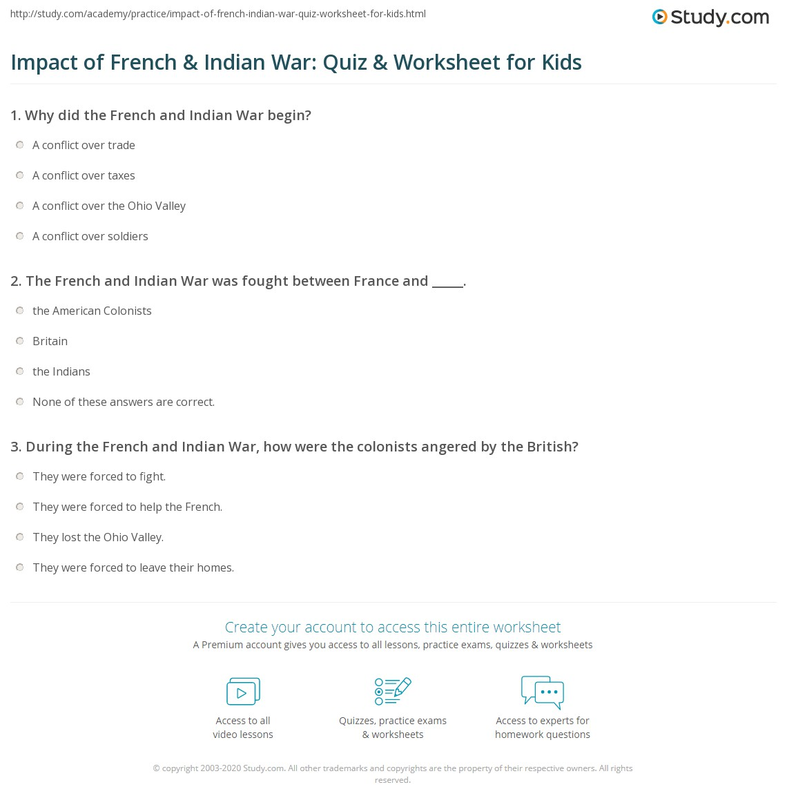 Impact Of French Indian War Quiz Worksheet For Kids Study Com