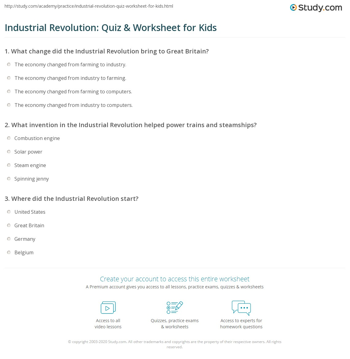 Industrial Revolution Quiz Worksheet For Kids Study Com
