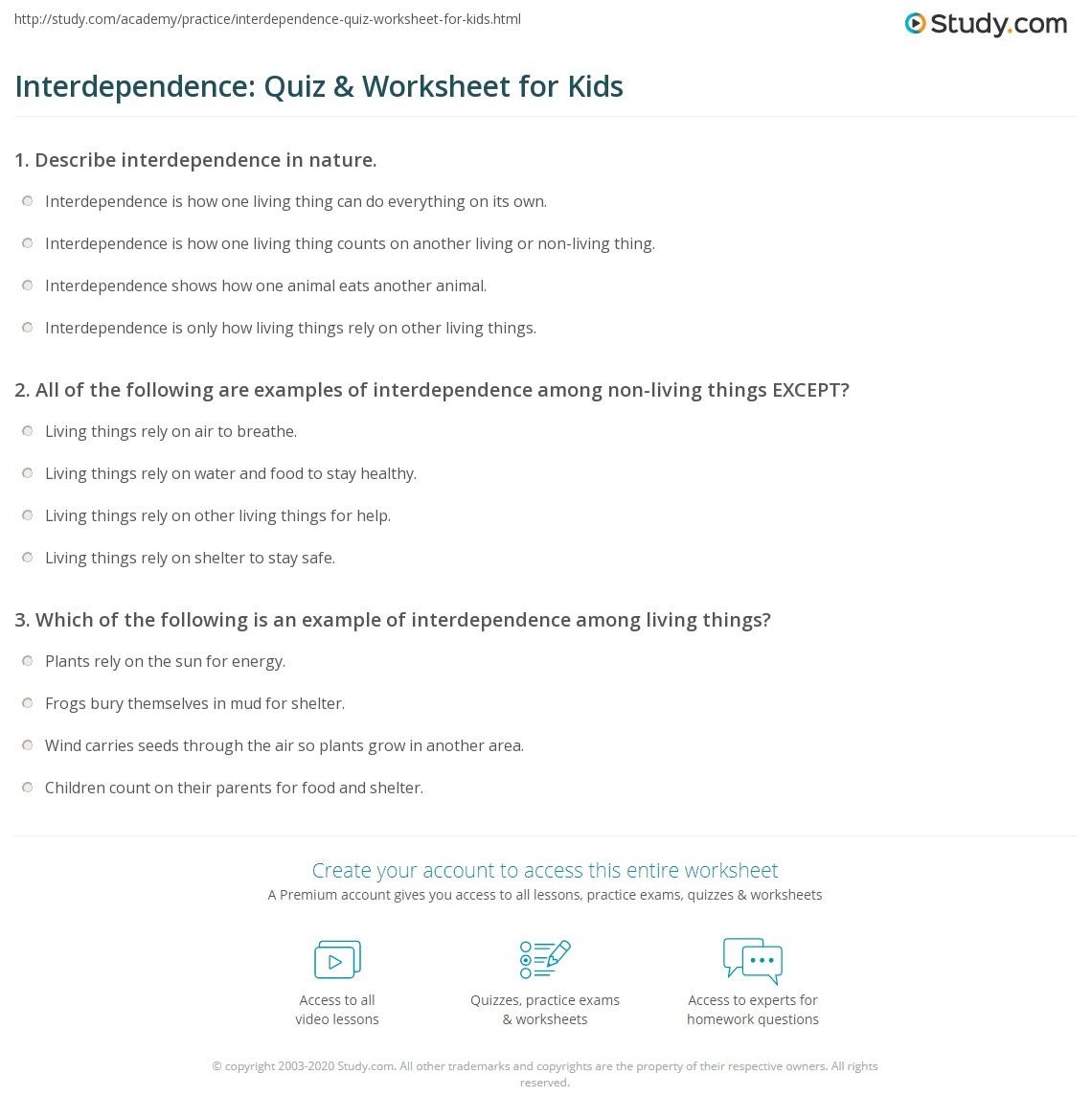 Interdependence Quiz Worksheet For Kids Study