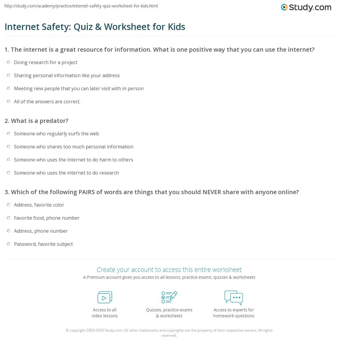 Internet Safety: Quiz & Worksheet for Kids | Study.com