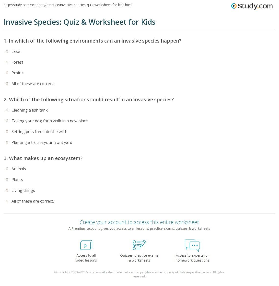 invasive species quiz worksheet for kids. Black Bedroom Furniture Sets. Home Design Ideas