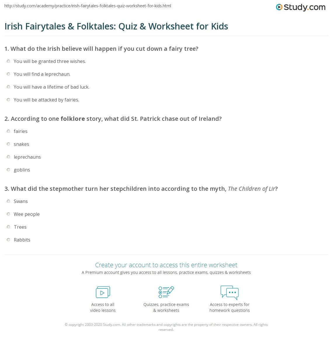 Irish Fairytales & Folktales: Quiz & Worksheet for Kids